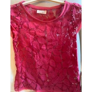Zara Lace Raspberry Shirt NWOT